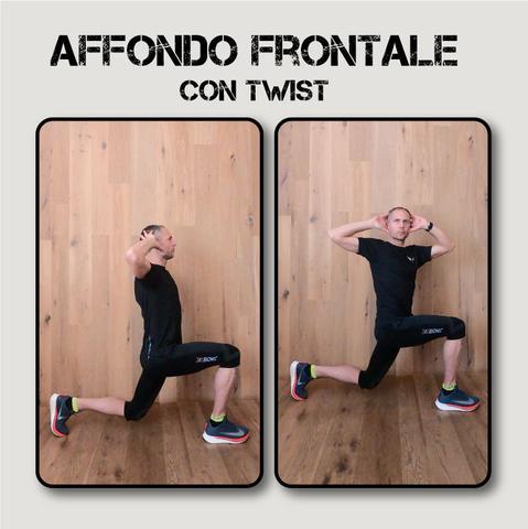 infortunio nel running: affondo frontale con twist